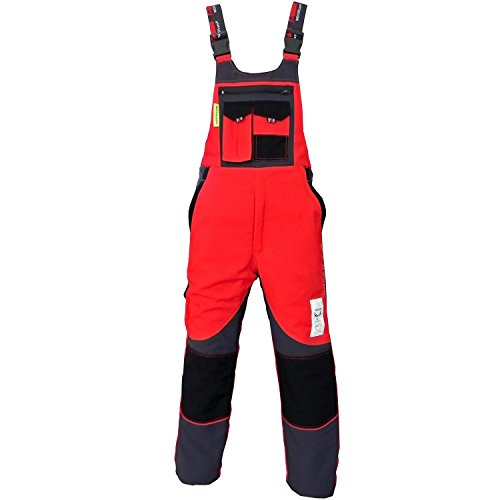 WOODSafe® Schnittschutzhose Klasse 2, kwf-geprüfte Forsthose, Latzhose rot/grau, Herren - Waldarbeiterhose (54)