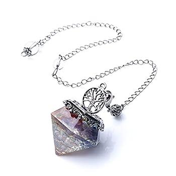 7 Chakra Pendulum Crystal Reiki Crystal Healing Stone Orgonite Pyramid Scrying Chakra Decor for Balancing Spiritual Gemstone Healing Crystal Reiki Supplies for Dowsing Divination Meditation Wicca