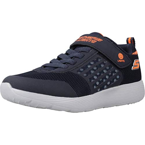 Skechers Jungen Dyna-lights Sneaker, Blau (Navy Mesh/Orange Trim Nvor), 30 EU