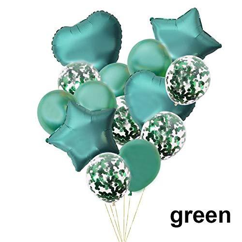 Lemon-Land 14 stks Kinderen Volwassen Verjaardag Party Decor Bruiloft Folie Metallic Ballonnen Set Confetti Ballon Star Heart(Groen)