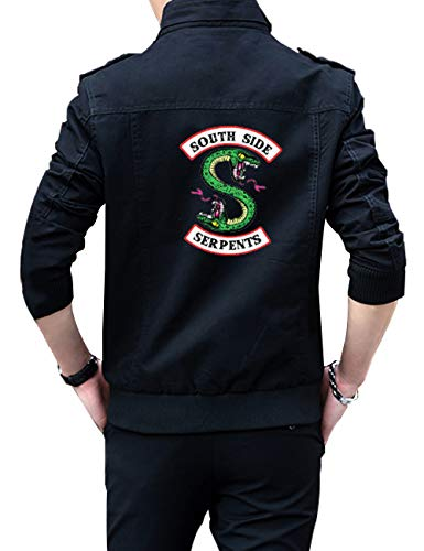 Riverdale Southside Serpents Jacke Herren, Damen Denim Jacket Unisex Teenager Mädchen Coole Jeansjacke Pullover Frauen Winterjacke Männer Kapuzen Sweatshirt Kinder Jäckchen Hoodie Outwear (B,XXXL)
