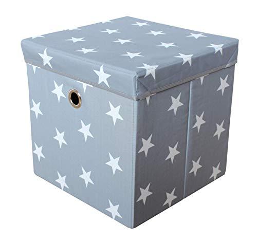 miRio • Aufbewahrungsbox mit Deckel | Spielzeugkiste Kinderzimmer | Kinder Storage/Ordnungsbox grau mit weißen Sternen | sehr stabil/geruchsarm | 33x33x33cm