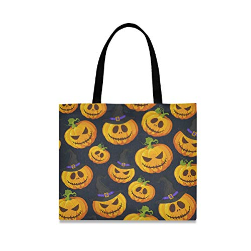 Yellow Halloween Pumpkin Reusable Shopping Tote Grocery Foldable Bag Portable Storage Shoulder Bags Handbags for Travel Women Girls