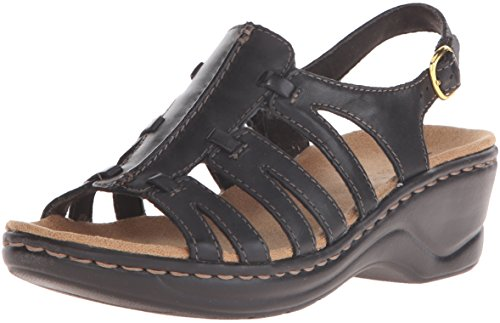 Clarks Women's Lexi Marigold Q, Black Leather, 9 EE - Extra Wide