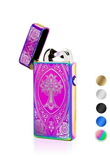 TESLA Lighter TESLA Lighter T08 Motiv Kreuz Regenbogen Lichtbogen Feuerzeug USB Aufladbar Elektro Sturmfest Plasma Doppel-Lichtbogen mit Akku Regenbogen