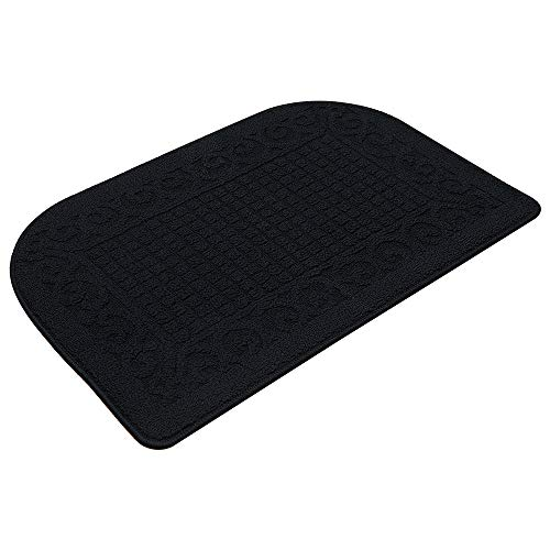 32X20 Inch Anti Fatigue Kitchen Rug Mats are Made of 100% Polypropylene Half Round Rug Cushion Specialized in Anti Slippery and Machine Washable (32x20in Black 1pc)