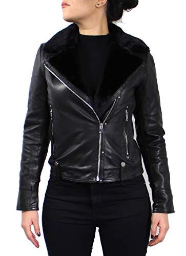 Lederjacke Yves - Damen Jacke aus echt Lamm Anilin Leder in schwarz mit Fellkragen und Fellfütterung (Schwarz, M (38))