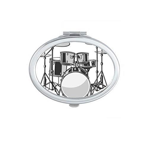 DIYthinker Instruments de Musique combinés Illustrer Motif Ovale Miroir de Maquillage Compact Portable Mignon Miroirs de Poche à la Main Cadeau Multicolor