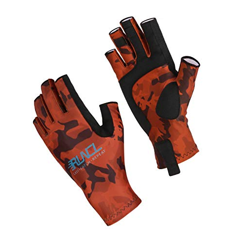 RUNCL Fishing Gloves, Fingerless Gloves, Sun Gloves - Stretch Fit, Breathable Ventilation, Sun Protection, Fingerless Design, Angling-Specific Design - Fishing, Kayaking, Cycling (Camo Orange, S/M)