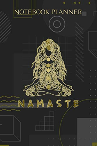Notebook Planner Namaste Yoga and Chakra in Bold Print Long: 114 Pages, Hourly, Diary, Hourly, Paycheck Budget, Finance, To-Do List, 6x9 inch