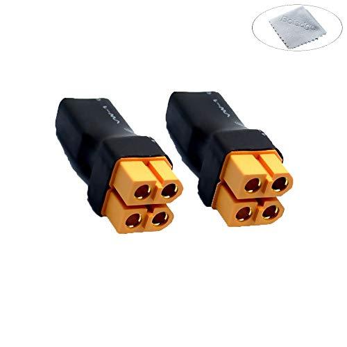 Boladge 2-Pack XT60 Enchufe de conexión Paralelo sin Cable para RC Lipo batería (1 Conector Macho XT60 a 2 Conectores Hembra XT60)