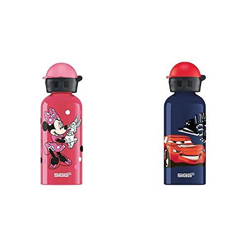 Sigg Minnie Mouse, Borraccia d'Acqua Bambina, Rosa, 0.4 L & Cars Speed, Borraccia d'Acqua Unisex Bambini, Blu, 0.4 L