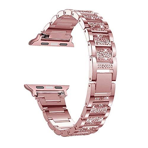 LAAGFC Diamond Case + Band para Apple Watch 6 5 4 3 2 1 Banda 44mm 40mm 42mm 38mm Steel de Acero Inoxidable Lady Mujeres Pulsera para el cinturón iWatch (Band Color : B, Band Width : 38mm)