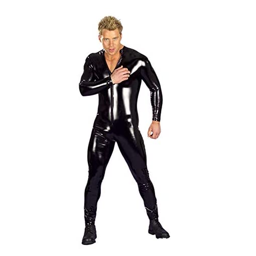HYWL Sexy Men and Women Wet Look DS Latex Stage Catsuit Clothing Prisoner Patent Leather Jumpsuits Nightclub Bodysuit,XL