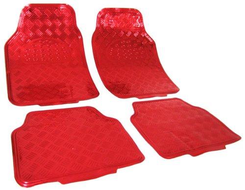 Tenzo-R 16063 Auto Gummi Fußmatten universal Alu Riffelblech Optik chrom rot