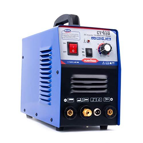 TIG Welder/Stick Welder/Air Plasma Cutter - Tosense CT418 3 in 1 Combo ARC/MMA/TIG Welding Machine,120A TIG/MMA Welder, 30A Plasma Cutting 220V /110V Dual Voltage, 2/5 Inch Clean Cut