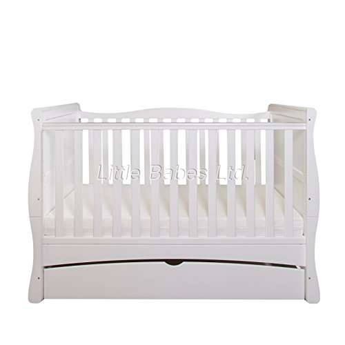 New Baby White Sleigh Mason Cot Bed with Drawer Only - Converts to Junior Bed/Toddler Bed (Require Mattress 140x70x10cm)