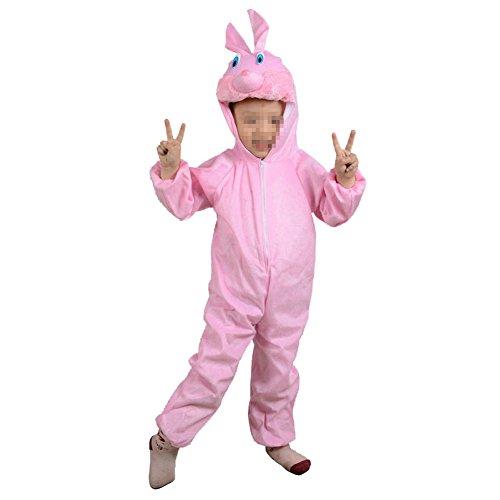 SpringPear Pink Häschen Kostüme für Kinder (120 - 140cm) Tier Siamesische Kleidung Party Weihnachten Halloween Karneval Flanell Baby Cosplay Bekleidung Tanzkostüme