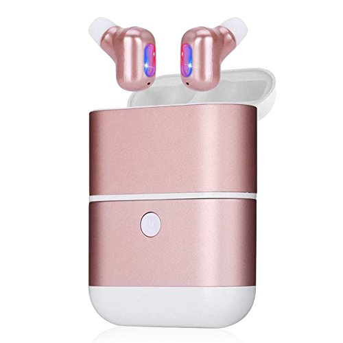 Kitbeez True Wireless Earbuds,TWS Stereo Earphones Noise Cancelling in-Ear Bluetooth Earbuds with Power Bank and Charging Case,Built-in Mic Mini Dual Earbuds for Women Sport Running (Rose Gold)