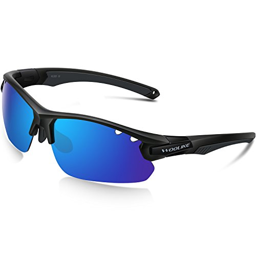 WOOLIKE Sports Sunglasses Polarized Sunglasses for Women or Men Cycling Running Fishing Golf Outdoor Baseball WL-505(Black&Black&Blue Lens)