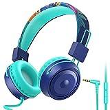 BlueFire Auriculares para Niños,Plegable Cómodos Auriculares Niños con Seguro Material,Limitación de Volumen A 85DB,Estéreo Cascos para Niños (Azul)