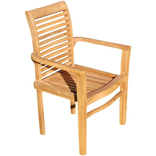 ASS ECHT Teak Design Gartensessel Gartenstuhl Sessel Holzsessel Gartenmöbel Holz sehr robust Modell: JAV-Alpen von