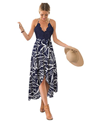 Blooming Jelly Women's Deep V Neck Sleeveless Summer Asymmetrical Floral Maxi Dress (X-Large, Blue)