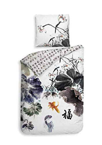 Heckett & Lane GOTS Satin Bettwäsche 135x200 Nakita Blue Koi Fische Japan