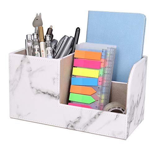 Yumi V Marble Pattern Desk Tidy Organizer, PU Leather Pen Pot Pencil Holder Desk Tidy Office Makeup Dressing Table Stationery Organizer Accessories