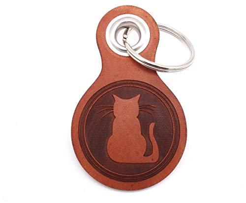 Samunshi® Katze Schlüsselanhänger Leder Gravur Motiv für Männer und Frauen Individuell Schlüssel Anhänger Geschenk 8x4,8cm Cognac braun/graviert