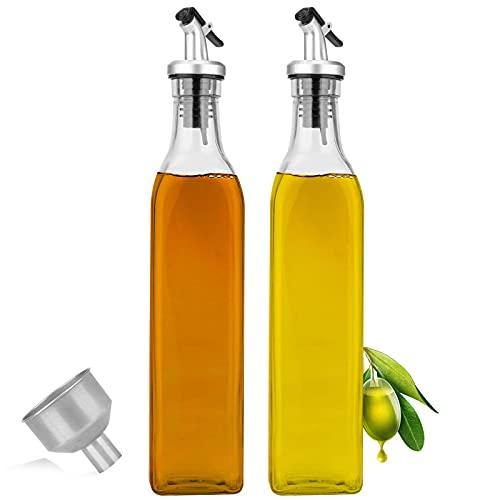 Dispensador De Aceite,500ml*2 PCS Aceitera Antigoteo Cristal Jarras de Vinagrera para Cocinar Ensalada Barbacoas Pasta