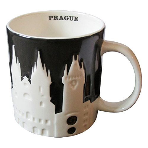 Starbucks Prague Relief Black Collector Coffee Tea Mug 16 Oz Cup NEW with SKU & Box