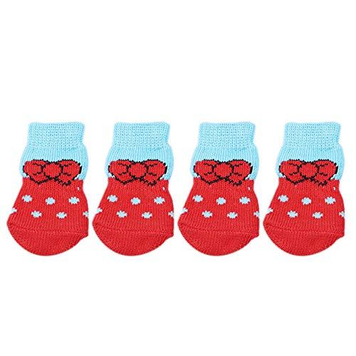 WEIHEEE Calcetines para mascotas de 4 piezas, calcetines de control de tracción con protector de pata de gato para perros para uso en interiores,rojo,L