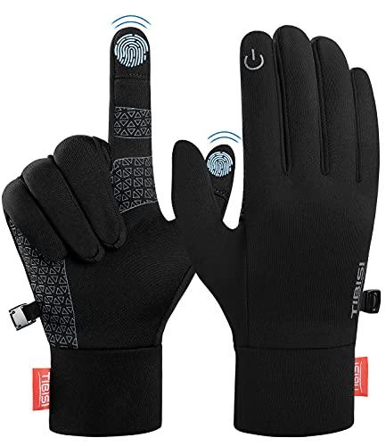 Guanti da uomo e da donna, touchscreen, guanti invernali da corsa, ciclismo, attività all'aperto, campeggio, escursionismo, alpinismo, uomo, donna, TM02 nero