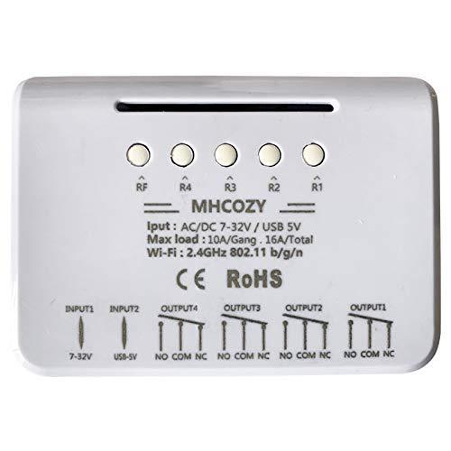 MHCOZY Relè WiFi Ewelink, Modulo temporizzatore autobloccante/temporaneo, camino porta garage Alexa Voice Control(4CH WIFI RF)