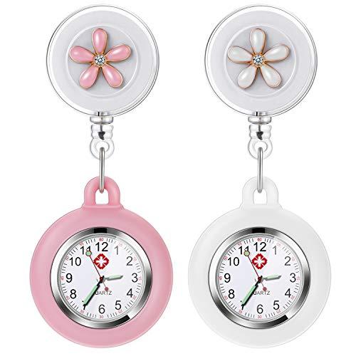 Krankenschwester Uhr, Vintoney 2er Krankenschwesteruhr Schwesternuhr Taschenuhren für Damen Pflegeuhr Taschenuhr Ansteckuhr Zeiger mit Leuchtend im Dunkeln Dehnbare Silikon Hülle(weiß + pink)