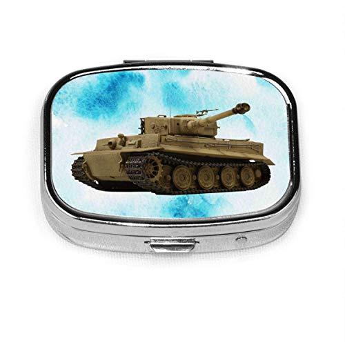 Caja de píldora cuadrada de moda con tanque de tigre alemán, estuche organizador de billetera con soporte para tableta, medicina y vitamina