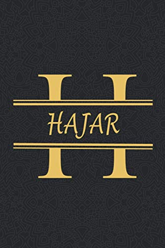 HAJAR: Personalized name Notebook HAJAR, Gold & Black Notebook for Women & Girls Named HAJAR Gift Idea, Office Lined Journal to Write in, Employee ... Letter HAJAR Initial Monogram Notebook