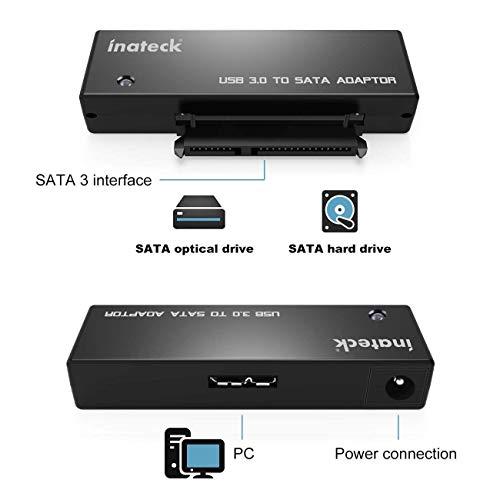 Inateck USB 3.0 zu SATA Konverter Adapter für 2.5/3.5 Zoll Laufwerke HDD SSD mit 12V 2A Netzteil
