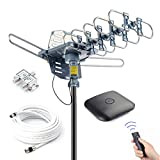 PBD Outdoor Digital HD TV Antenna 150 Miles Motorized 360 Degree Rotation with 60FT RG6 Coax Cable - UHF/VHF / 1080P / 4K Snap-On Installation