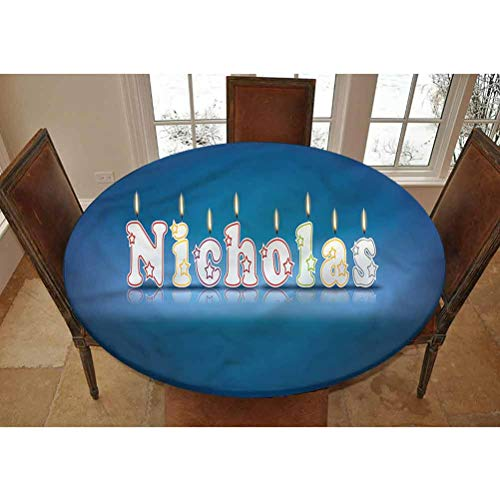 LCGGDB Nicholas Elastic Edged Polyester Fitted Tablecolth -Boys Name Party Candle- Oval/Olbong Fitted Table Cover - Fits Oval/Olbong Tables up to 48'x78',The Ultimate Protection for Your Table