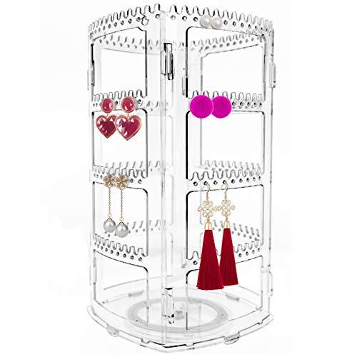 YOLETO Présentoir de bijoux rotatif à 360 degrés, Porte-bijoux pour Colliers de collier avec 168 trous et 168 rainures, Plateau rangement pour boucles d'oreilles transparent à 4 couches