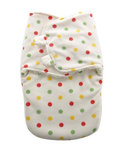 Happy Cherry Couverture Gigoteuse d'emmaillotage Bébé Fille Garçon en Molleton Polaire Gigoteuses et nids d'ange Souple Sac de Couchage Nouveau-né 50 * 35cm Pois