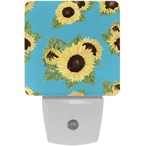 Lámpara LED de luz nocturna con diseño de girasol, con diseño de fondo azul, con sensor de movimiento automático del atardecer al amanecer, apto para dormitorio, baño, escaleras, cocina, pasillo