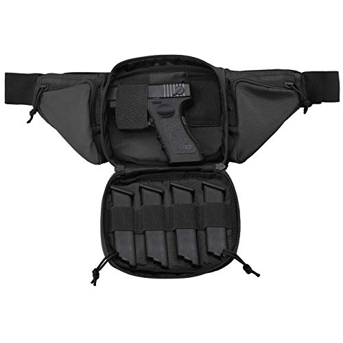 FRTKK Concealed Carry Pistol Pouch Ultimate Fanny Pack Holster Fits 1911, Glock, H&K, Ruger, S&W M&P Shield, Taurus, Sig Sauer, Springfield, Beretta, Kimber, Walther, and More (Black)