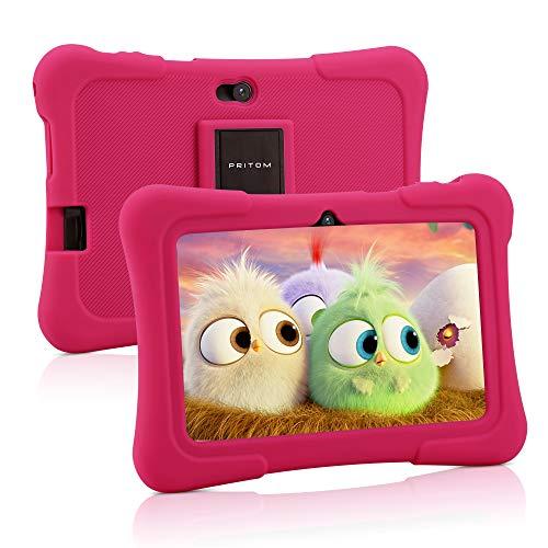 Pritom Tablet per bambini da 7 pollici, Quad Core Android 10, 16 GB ROM, Bluetooth, Wi-Fi, doppia fotocamera, sicurezza per bambini (rosa)