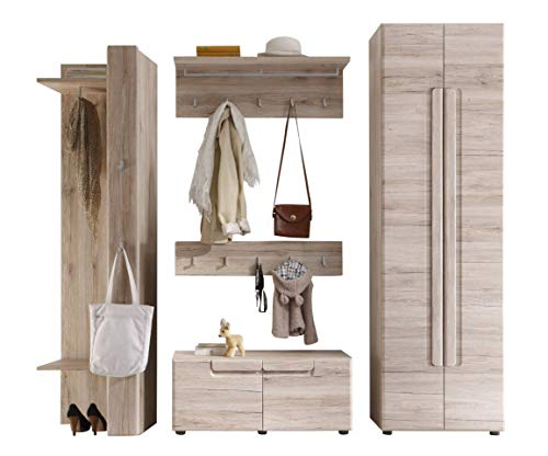 trendteam smart living  Garderobe Garderobenkombination 5-teiliges Komplett Set Malea, 238 x 191 x 38 cm in Eiche San Remo Dekor mit viel Stauraum und Ablagefläche
