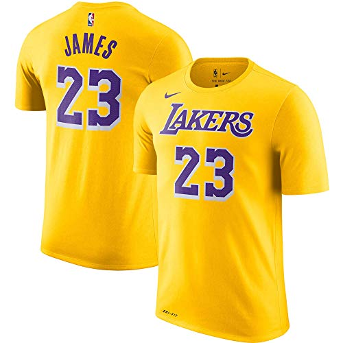 Nike Lebron James Los Angeles Lakers NBA Boys Youth 8-20 Yellow Name & Number Performance Dri-Fit T-Shirt (Youth Large 14-16)