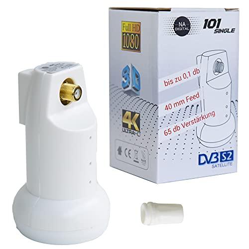Verlässliches Digital Single LNB Full HD HDTV 3DTV 4K-UltraHD mit Regenschutz I DVB S2 DVB S LNB rauscharmer Signalumsetzer universal Satellitenkopf für 1 Teilnehmer I Na-Digital 101