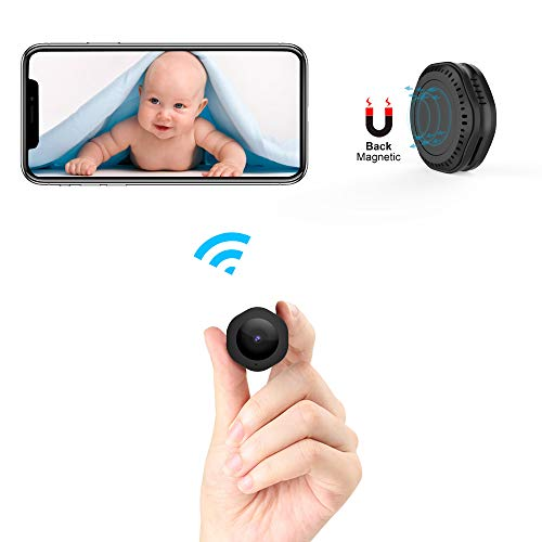 Mini WiFi Camera,CHUHE 1080P Portable Body Cameras Wireless Indoor/Outdoor Security Small Camera/Nanny Cam with Motion Detection/Night Vision (Round)